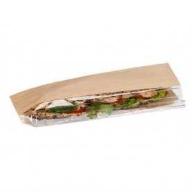 Sac sandwich fenêtre décalée - papier kraft brun - emballage snack et vente-à-emporter