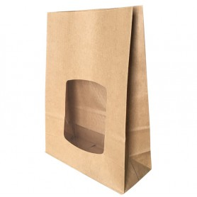 Sac SOS kraft brun avec fenêtre - sac emballage écologique kraft brun