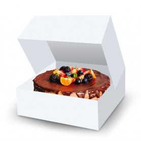 Boîte pâtissière blanche carrée - Boîte Gateau - Transport Gateaux et Pâtisserie - Boîte Gateaux Boulangerie