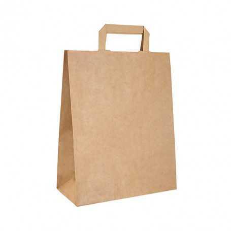 sac cabas kraft brun poignées plates - sac écologique et biodégradable