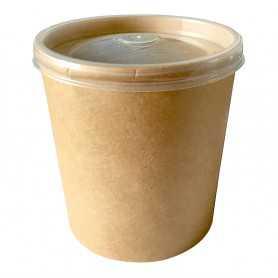 Pot à soupe carton brun et couvercle micro ondable