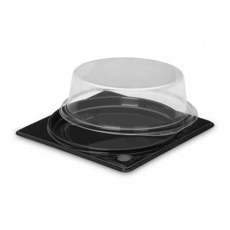 support noir emballage pour tarte ronde avec couvercle transparent pour le libre service et la vente à emporter