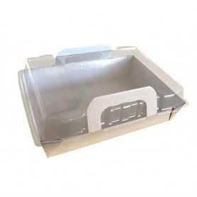 Panier carton + couvercle transparent - Boîte pour plats chauds avec couvercle - boîte cuisson et micro-ondable