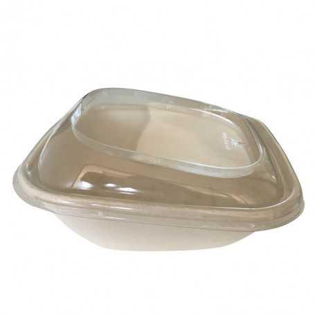 Saladier bagasse - bol salade vente à emporter - forme bizeautée pour présenter vos produits en vitrine