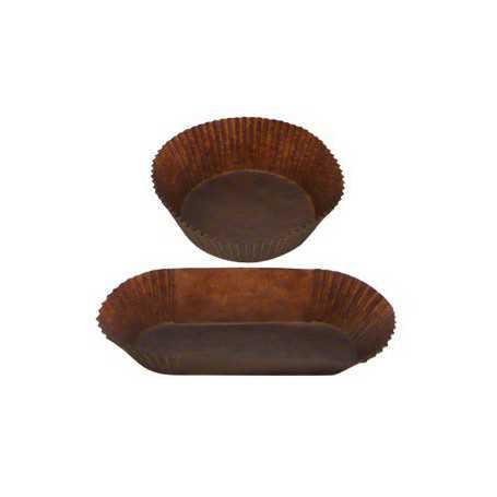 Caissette papier plissé rond et barque - Caissette pâtissière - Caissette pâtisserie brune
