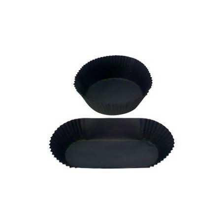 Caissette papier plisée format rond  et format barque - Caissette pâtissière noire ronde et rectangle