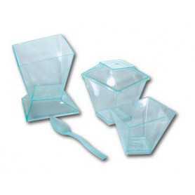 Verrines coupe et couvercle cristal - Verrine jetable - Coupe Jetable - Cristal Jetable