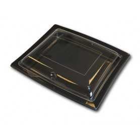 Ravier noir + couvercle transparent - Assiette jetable noir avec couvercle transparent - Assiette jetable noir rectangulaire ave