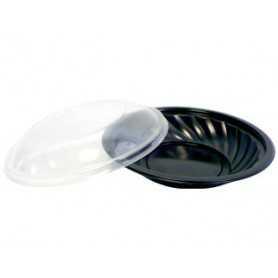 Assiette ronde noire + couvercle transparent - Assiette jetable noir pour micro-onde - Assiette jetable avec couvert transparent