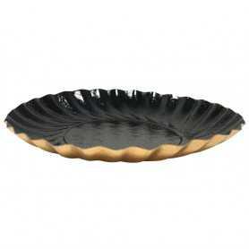 Mini assiette noire - Mini assiette ronde noir et or - Vaisselle jetable Traiteur