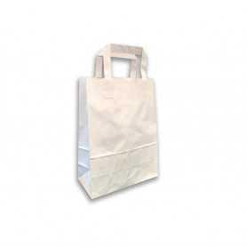 Sac Cabas Kraft blanchi Poignées plates vente à emporter