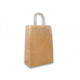 Sac cabas kraft brun poignée torsadée - emballage écologique - sac kraft brun pour vente à emporter