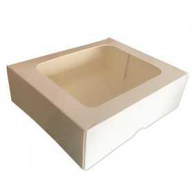 Boîte pâtissière blanche rectangle avec fenêtre